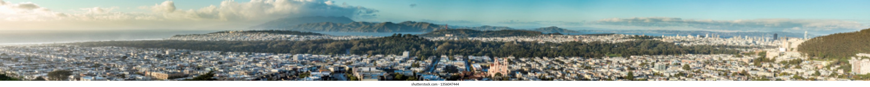 180 degree panorama of San Francisco from downtown to the Pacific Ocean.