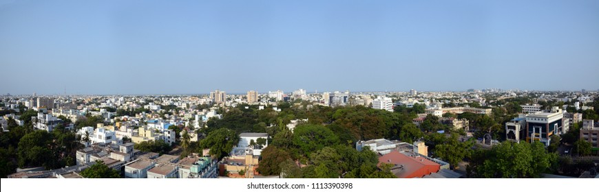 A 180 degree panoramic aerial view of Chennai city in Tamil Nadu, India.