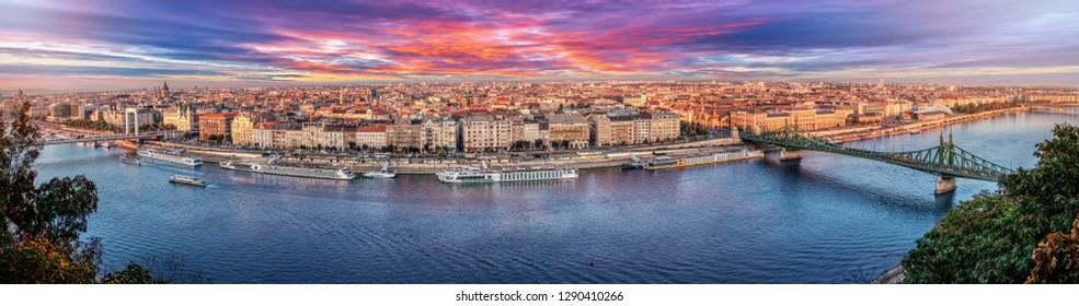 180 degrees aerial panorama at sunset in the capital city of Hungary, Budapest.
