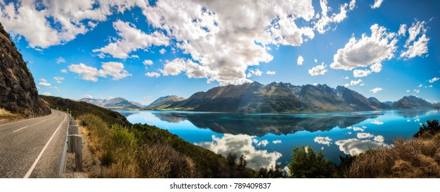 180 degrees view point Panorama overlooking Lake Wakatipu at Bennett's Bluff Lookout at golden hour,  one of the most the scenic drives in New Zealand in between Queenstown and Glenorchy.
