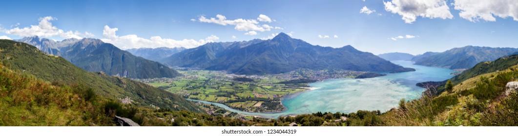 180 ° panorama low Valtellina - Upper  Como Lake (Italy)