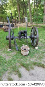 1800s cannon with water buket