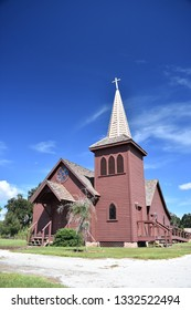 1800s style church in Shingle Creek Pioneer Village. Kissimmee, Florida, USA