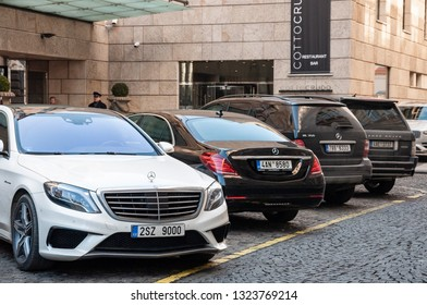 18.02.2019, Prague, The Czech Republic: Closeup of Mercedes Benz S class in front of luxury hotel Four Seasons in Prague. Luxury cars in parking in front of Four Season hotel.