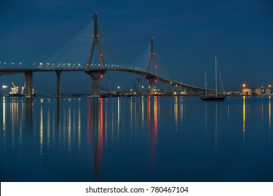 1812 Constitution Bridge at Night Cadiz Spain