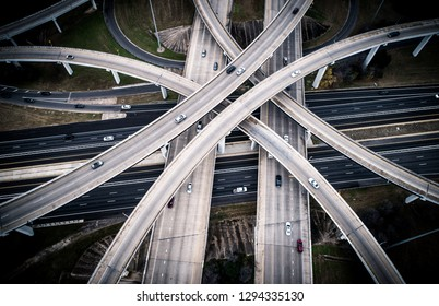 183 highway interchange with mopac expressway highway system , abstract urban angles looking straight down from aerial drone view Austin Texas USA