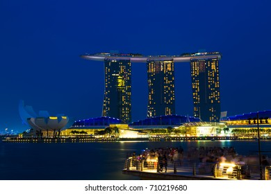 (18/3//2016) Singapore business district at Marina Bay Sands.