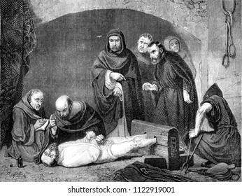 From 1841 Exhibition of painting, A Scene of the Inquisition, vintage engraved illustration. Magasin Pittoresque 1841.