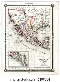 1846 Antique Map of Mexico and Texas Republic