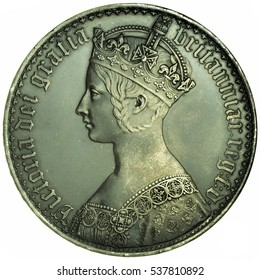 1847 Queen Victoria 'Gothic' Crown. Obverse of the coin.