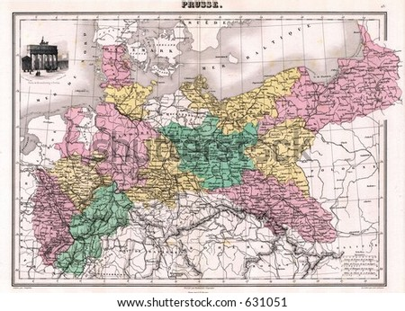 Map Of Germany 1870.1870 Antique Map Prussia Germany Stock Photo Edit Now 631051