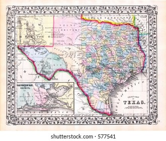 1870 Antique Map of Texas