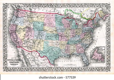 1870 Antique Map United States Mitchell