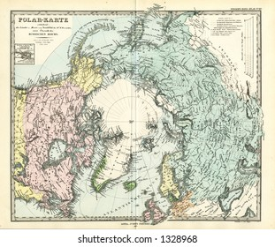 North pole map stock images royalty free images vectors 1872 antique map of north pole stieler gumiabroncs Gallery