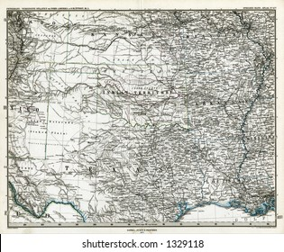 1872 Antique Stieler Map of South Central United States Texas