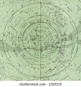 1872 Antique Stieler Map of South Sky Star Chart Detail