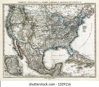 1872 Antique Stieler Map of the United States of America