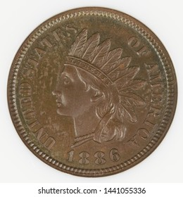1886 Indian one cent coin obverse / front