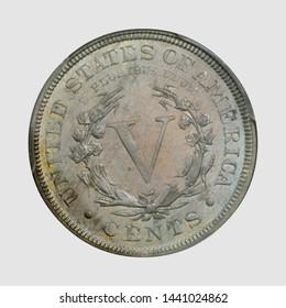 1889 V nickel coin reverse / back