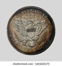 1898 Barber quarter dollar coin reverse / back with very colorful toning