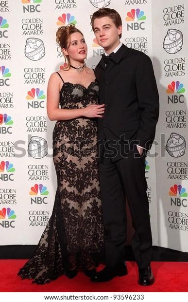 "18JAN98:  Actor LEONARDO DiCAPRIO & actress KATE WINSLET at the Golden Globe Awards where their movie ""Titanic"" won Best Movie Drama."