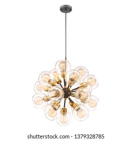 18-Light Chandelier Isolated on White Background. Ceiling Light Round Pendant Light Fixture. Frosted Glass and Gold Metal Hanging Lights. Pendant Sconce Lighting Lamp