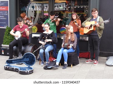 18th August 2018, Drogheda, Ireland. Performing on the streets of Drogheda at the Fleadh Cheoil na Éireann Drogheda 2018 Irish cultural music and dance festival.