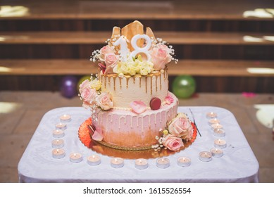 Super 18Th Birthday Cake Images Stock Photos Vectors Shutterstock Personalised Birthday Cards Veneteletsinfo