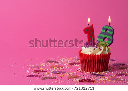18th birthday cupcake pink background stock photo edit now