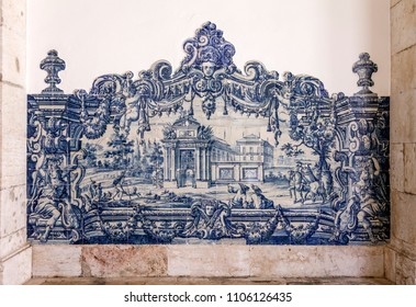18th c. Portuguese Blue Tiles (Azulejos). Sao Vicente de Fora Monastery Cloister. Very important monument in Lisbon, Portugal. 17th century Mannerism