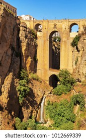18th Century arched bridge over the El Tajo gorge in Ronda, Andalucia, Spain