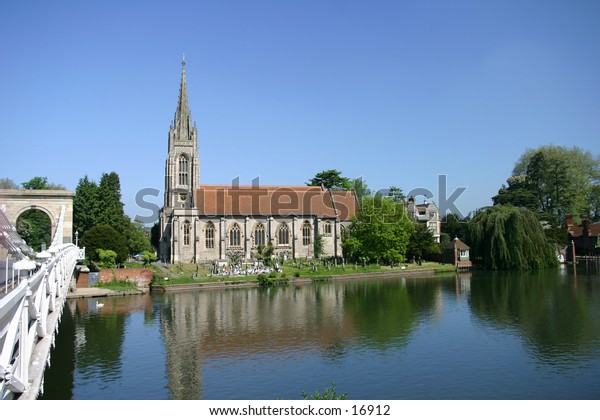 18th Century Church located in the river Thames in the village of Marlow, All Saints built 1835