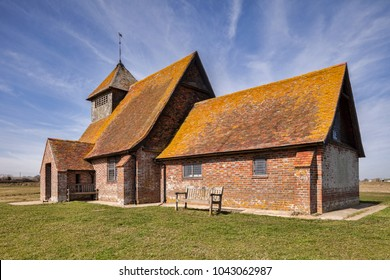 The 18th century Church of St Thomas A Becket at Fairfield, Romney Marsh, Kent, England, still in use today