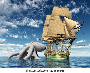 18th Century Corvette and a Giant Octopus Computer generated 3D illustration