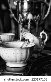 18th Century cups and saucers on inlaid wooden serving tray  black and white