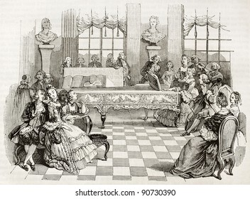 18th century home concert, old illustration. Created by Saint-Aubin, published on Magasin Pittoresque, Paris, 1844