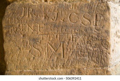18th century runes of English soldiers left on the walls of Bodiam castle