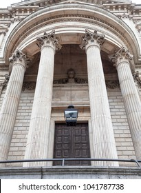18th century St Paul Cathedral,decorative columns, London, United Kingdom.  It is an Anglican monumental cathedral, the seat of the Bishop of London