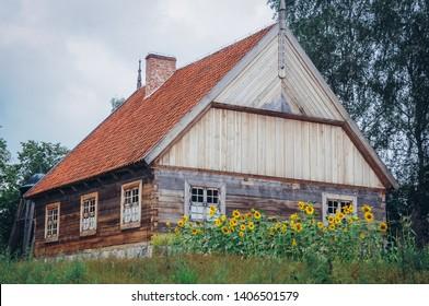 18th century wooden cottage from Masuria region in heritage park in Olsztynek town of Olsztyn County in Warmia-Mazury Province, Poland