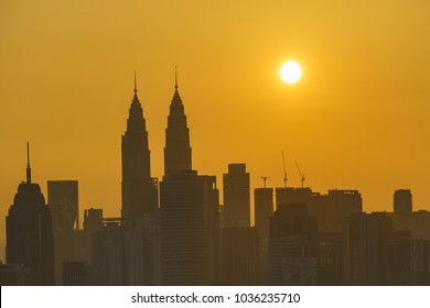 18th Feb 2018, Kuala Lumpur, hazy sunrise with skyscraper in background.