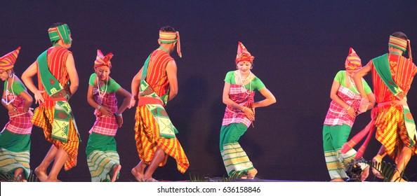 18th November 2016, Tata Nagar, India. Rabha Tribal Artist of Assam are performing in Samvaad 2016 – A Tribal Conclave organised by Tata Steel