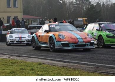 18th of November 2017, Meeting of masters exhibitions.  Rallycross, autocross and historical classic , Sosnova, Czech Republic. Porsche 997 GT3