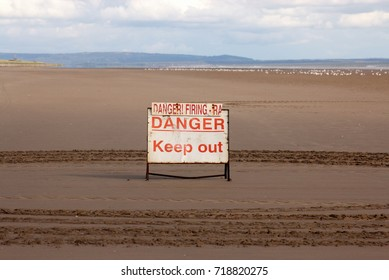18th September 2017- The danger sign at the entrance to the firing range on the beach at Pendine, Carmarthenshire, Wales, UK.