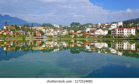 19 AUG 2018 Sapa Vietnam - beautiful landscape view of glass like lake on sunny day