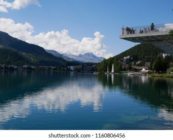 19 august 2018-saintz moritz-suisse-Panoramic view of the lake of Saintz Moritz