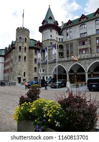 19 august 2018-saintz moritz-suisse-View of the Palace hotel in Saint Moritz
