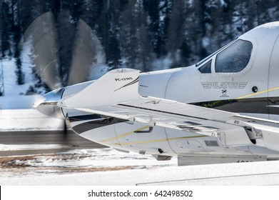19 February 2017 Detailed Pilatus  PC12 taxiing from Snow Parking of Samedan Engadin Airport. St.Moritz Switzerland. Landed to transport person for FIS Alpine World Ski Championships or White Turf