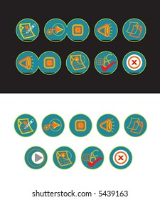 19 green web buttons (raster) - part of a full set