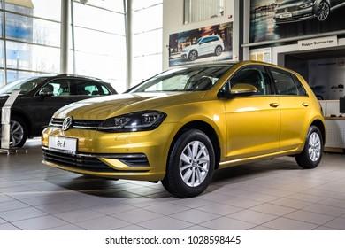 19 of January, 2018 - Vinnitsa, Ukraine. Volkswagen VW Golf presentation in showroom