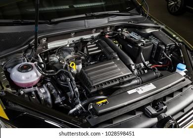 19 of January, 2018 - Vinnitsa, Ukraine. Volkswagen VW Golf presentation in showroom - under the hood